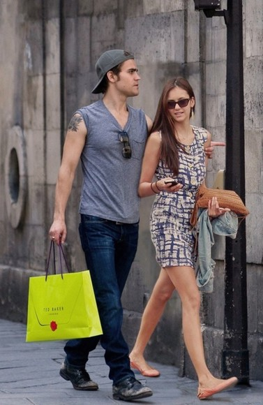 dress shopping print nina dobrev mini dress paul wesley