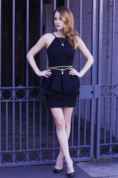 at fashion forte,blogger,belt,peplum dress,little black dress,belted dress,halter dress,dress,jewels,shoes,birthday dress