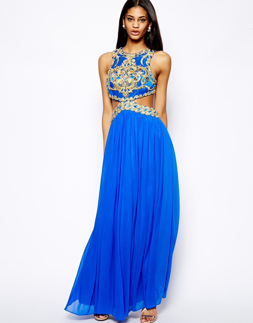 Unique Laila Maxi Dress with Cut-Out Waist and Embellishment at ...