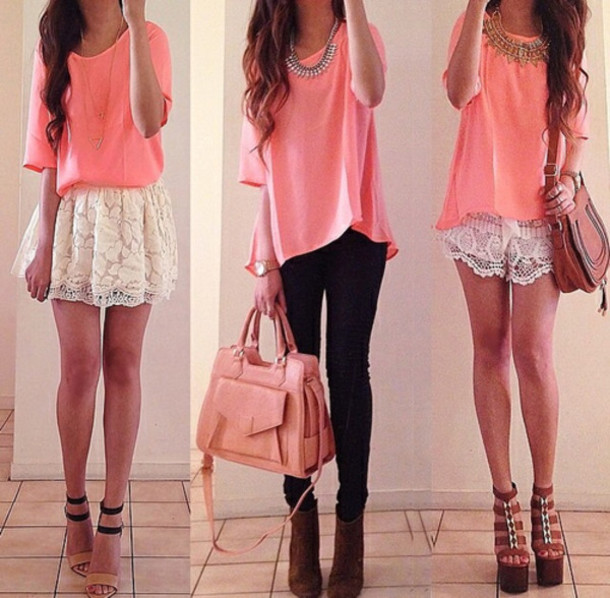 top jeans shirt pants skirt shorts shoes bag necklace blouse tank top pink cute rose pretty lush chiffon blouse pink top three fourths sleeve white lace skirt