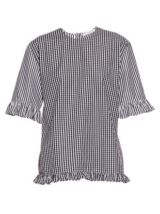 top cotton gingham white black