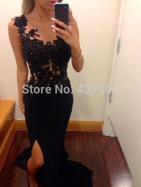 Dress party evening elegant 2014 new fashion black lace appliques beaded high slit mermaid long evening dresses