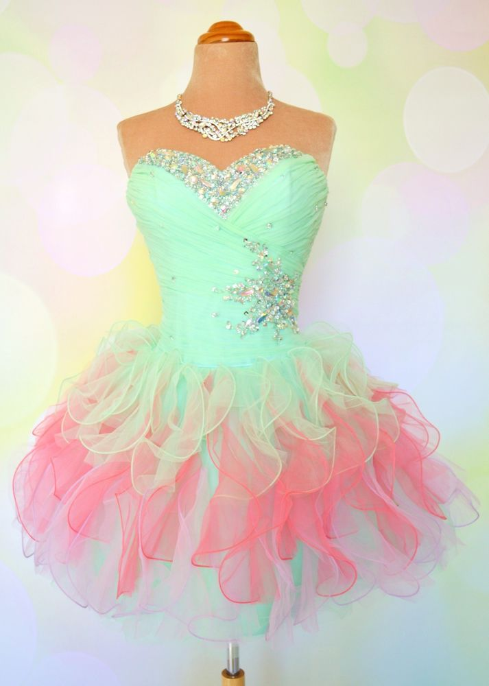 Perfect Pastel Short Prom Cocktail Evening Homecoming Pageant Gown Dress XS 2 4 | eBay
