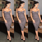 Sweetheart bandeau midi dress grey