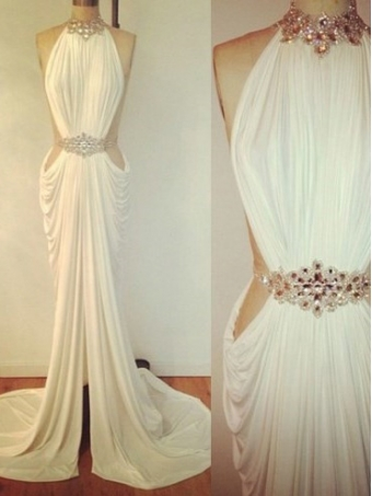 Amazing White Chiffon Backless Long Prom Dresses, Evening Dresses [B00232] - $198.99 : 24inshop
