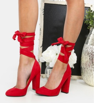 shoes girl girly girly wishlist red red heels high heels block heels lace up lace up heels cute suede