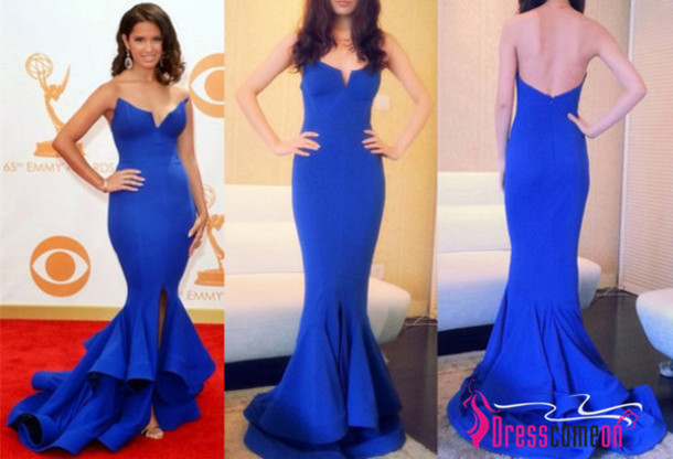 Elegant Strapless Royal Blue Big Fishtail Long Mermaid Prom Dress ...