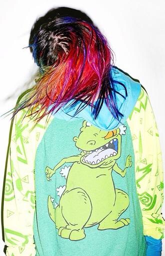 cardigan colorful dinosaur hair dye rainbow 90s style