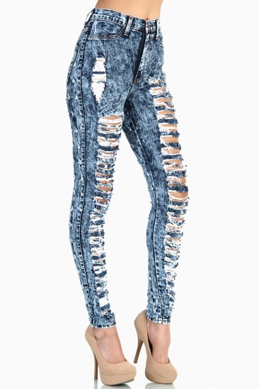 LoveMelrose.com From Harry & Molly | BACK PATTERN DISTRESSED HIGH WAIST JEANS - MEDIUM ACID WASH