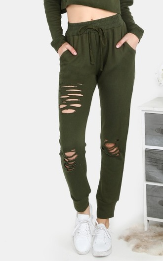 pants girl girly girly wishlist olive green sweatpants joggers joggers pants ripped two-piece matching set