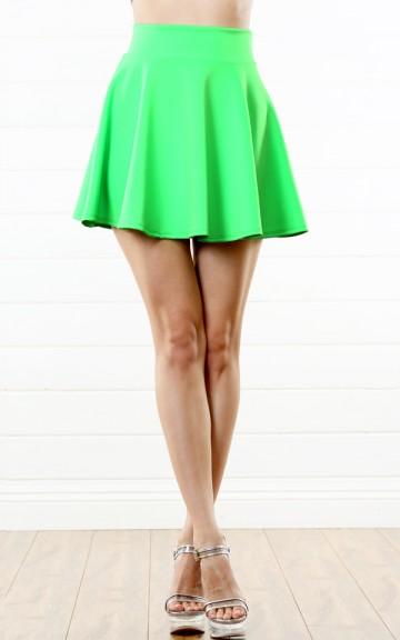 Green Scuba Skater Skirt |  MakeMeChic.com