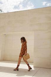 my daily style,blogger,brown dress,orange,orange dress,mini dress,summer dress,summer outfits,printed dress,gladiators,raffia bag,handbag