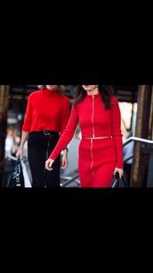 dress,crop tops,red top,zipped skirt,pencil skirt,midi skirt