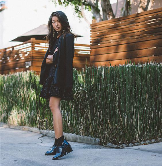 honey n silk blogger jacket earrings blazer ankle boots dress