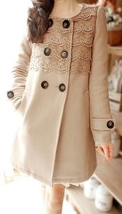 coat,pea coat,jacket,lace