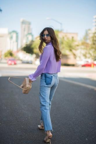 blouse lavender lilac lavander blouse blue jeans mules bag jeans denim heel heels sunglasses