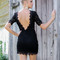 Almost famous black lace zip up mini dress with open back – amazing lace