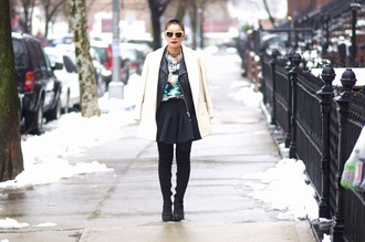 let's get flashy blogger coat jacket shirt skirt shoes sunglasses make-up jewels