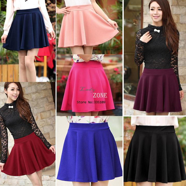 2014 Hot Selling Fashion New Women Candy Color Stretch Waist Plain Skater Flared Pleated Cotton Mini Skirt 15411-in Skirts from Apparel & Accessories on Aliexpress.com