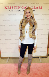 boots,over the knee boots,kristin cavallari,fall outfits,fur coat,vest,printed fur vest