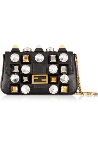 embellished bag shoulder bag leather metallic black