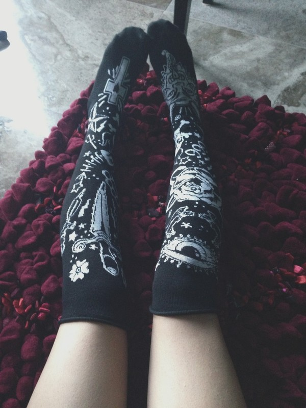 shoes tattoo socks alternative cute tattoo socks black white