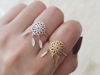 jewels ring dreamcatcher silver gold