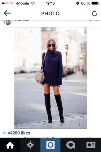 knee high boots black boots sweater dress