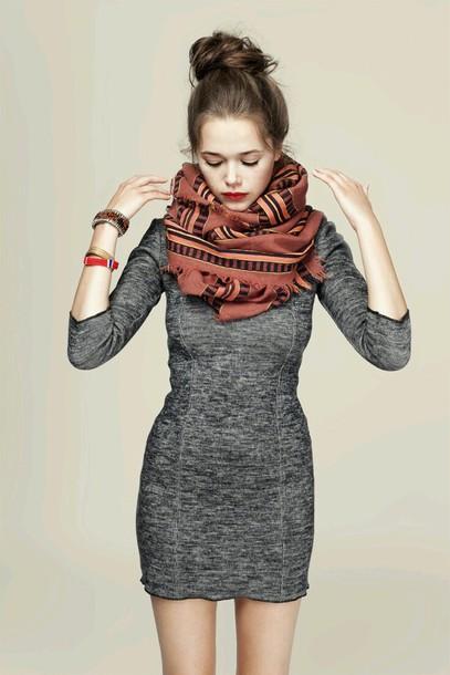 dress grey dress long sleeve dress scraf