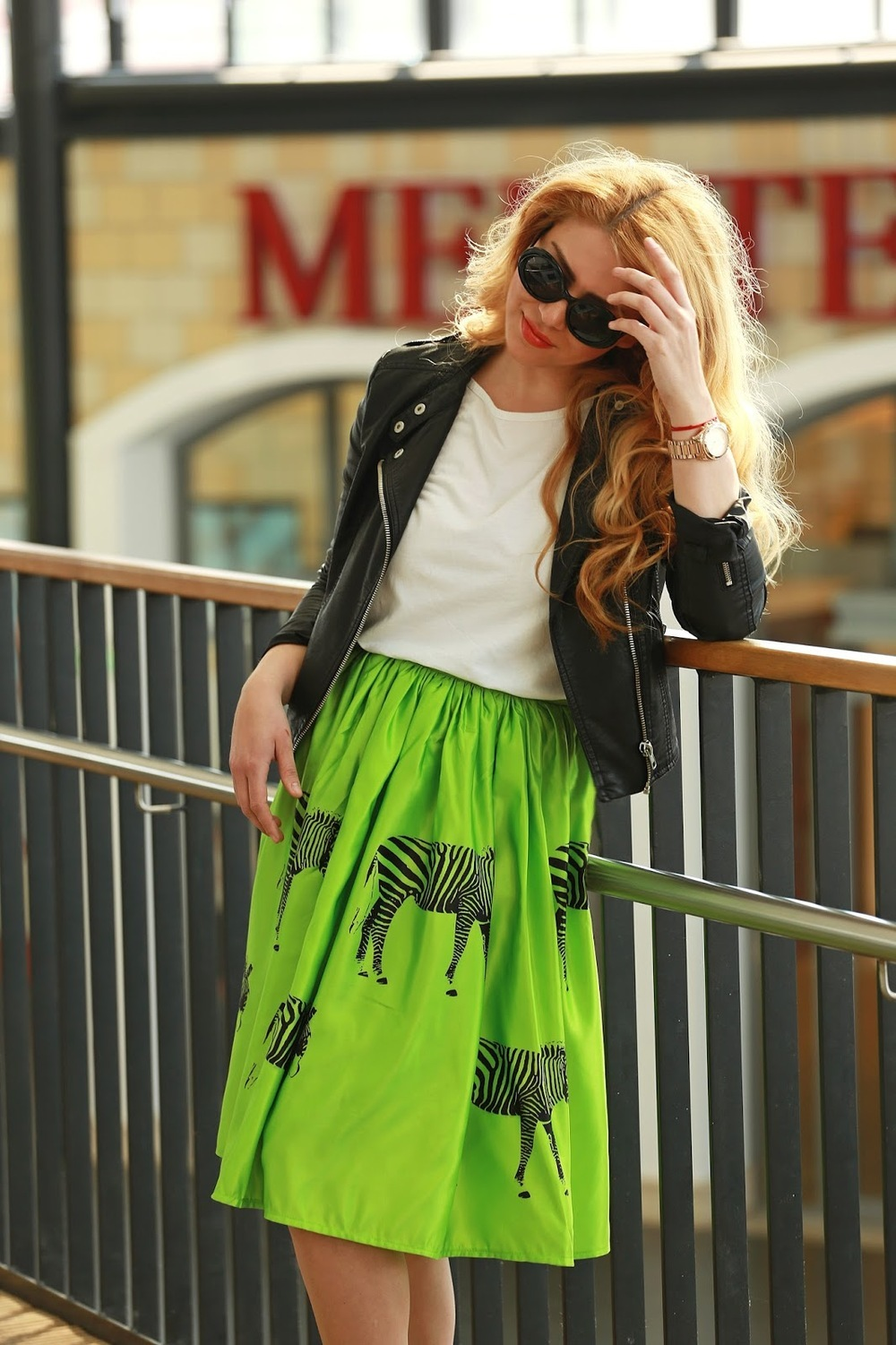 Green zebra printing skirt