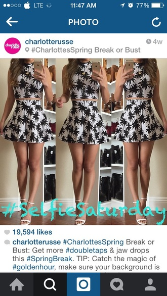 dress two-piece crop tops floral black and white white black heels bottoms bottom high heels socks