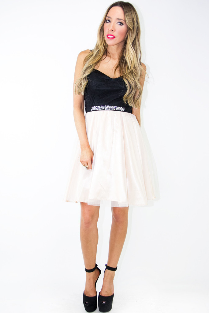 EMMAN TULLE DRESS - Beige/Black | Haute & Rebellious
