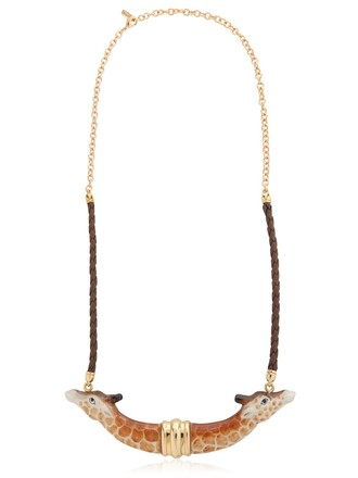 giraffe necklace gold brown jewels