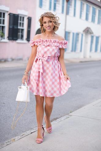 something delightful blogger dress shoes top bag off the shoulder dress mini dress sandals spring dress