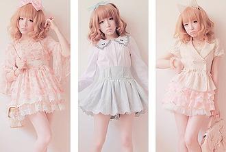 dress kawaii japanese fashion cute cute skirt skirt jacket bows ruffle lace