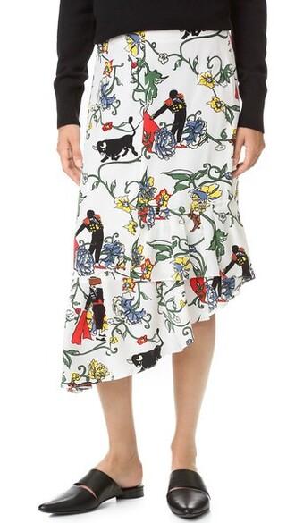 skirt asymmetrical ruffle print