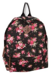 bag,cat valentine,victorious,backpack,ariana grande,floral,flowers,floral backpack