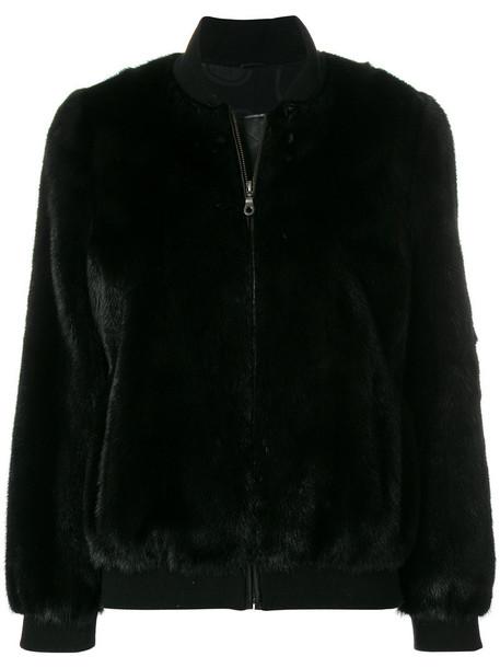 SIMONETTA RAVIZZA jacket bomber jacket fur women suede black silk