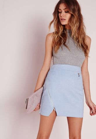 skirt blue suede skirt blue skirt suede skirt mini skirt top grey top clutch grey clutch