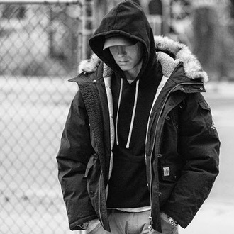 jacket eminem black jacket fur trim