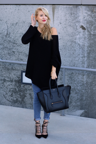 ohh couture blogger celine bag strappy sandals oversized sweater black sweater