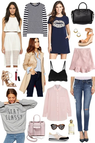 sequins and stripes blogger baby pink nightie grey sweater top skirt t-shirt dress bag jewels shoes coat sweater shirt sunglasses