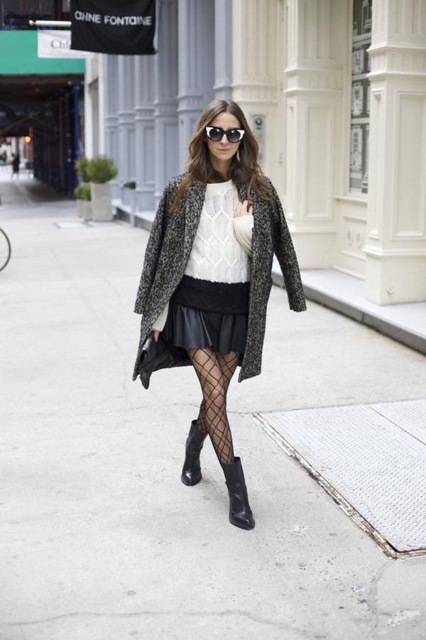 something navy skirt sweater coat shoes sunglasses