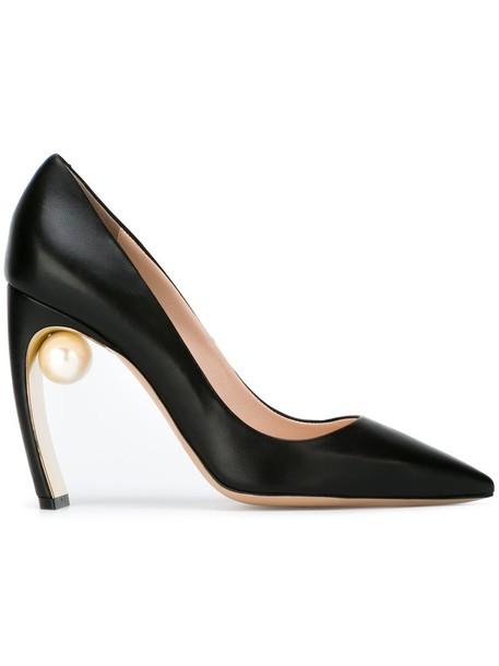 Nicholas Kirkwood women pearl pumps leather black shoes