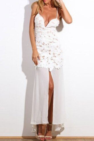 dress maxi dress lace straps fashion style white summer elegant sexy slit dress chiffon cleavage