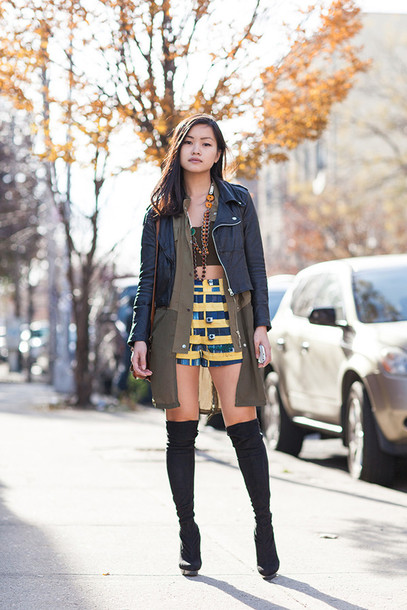 jess loves fred blogger jacket shorts stripes knee high boots