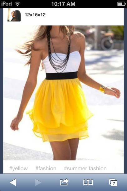 dress yellow skirt white black yellow colorful