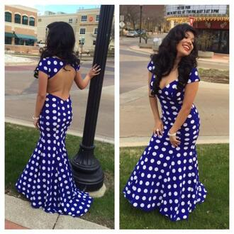 dress cap sleeves polka dots blue and white dots prom dress backless dress blue and white dress