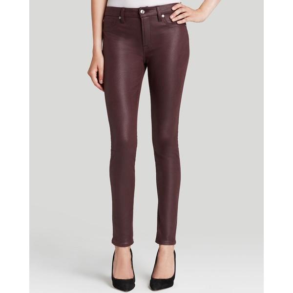 Bloomingdale's exclusive high waist skinny in burgundy crackle