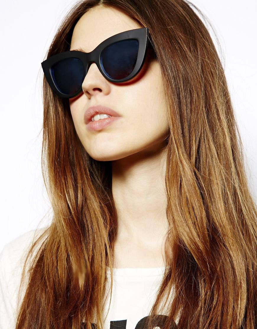 ASOS Matte Flat Top Cat Eye Sunglasses With Blue Flash Lens at asos.com